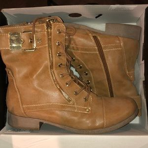 Camel colored combat boots by Guess